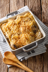 American food: tetrazzini with spaghetti, mushrooms, cheese, chicken close-up. vertical