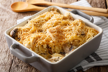 American tetrazzini with spaghetti, mushrooms, cheese, chicken close-up in baking dish. Horizontal