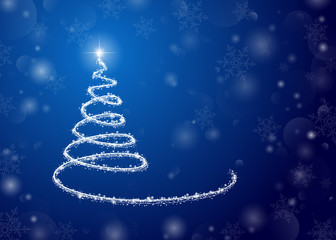 Christmas background, a glowing tree on blue. For posters, postcards, greeting, decoration on new year and Christmas.