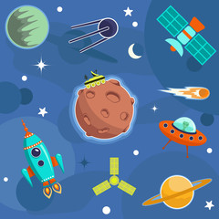 Vector illustration on a space theme. A rocket in space with a flying saucer, a meteorite and various planets.