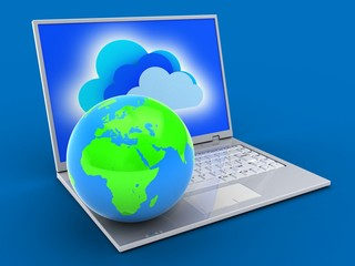 3d laptop and globe