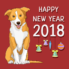 Happy new year, new year card with a drawn yellow dog symbol of the year 2018 and fur-tree toys on a red background. Vector illustration, banner, poster