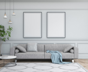 Interior design simple scene with frames. Modern scandinavian interior. 3d render studio.