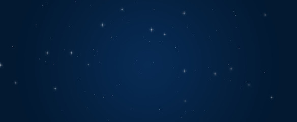 Beautiful gleam shining stars in dark blue sky background