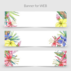 Tuinposter Abstract bloemen Tropical plants frame in a watercolor style. Aquarelle wild flower for background, texture, wrapper pattern, frame or border.