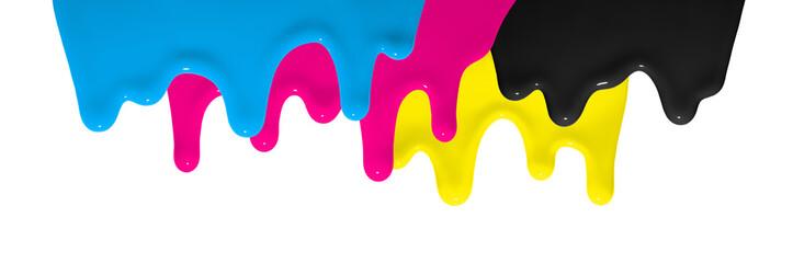 CMYK Farbe fließt herunter als Symbol für Gestaltung und Kreativität im Design