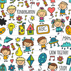 Seamless pattern Kids drawing Kindergarten School Happy children play Illustration for kids Nursery Preschool Children icon