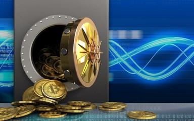 3d bitcoins heap over digital waves