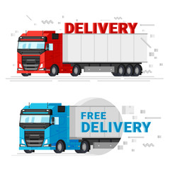Two delivery trucks flat design vector illustration. Fast free delivery service concept banners for web graphic. Truck car isolated on white background.