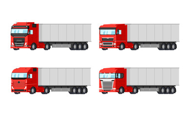 Four different red trucks for delivery goods vector flat design isolated on white background. Delivery, cargo infographic elements.