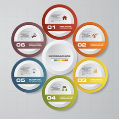 Abstract 6 steps infographics template. Infographics for business presentation. Timeline presentation. EPS 10.