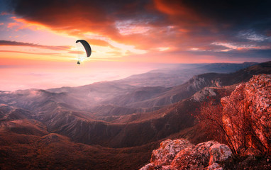 Paraglider silhouette in a light of majestic sunrise