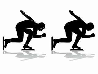 silhouette of a speed skater , vector draw