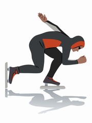 illustration of a speed skater , vector draw