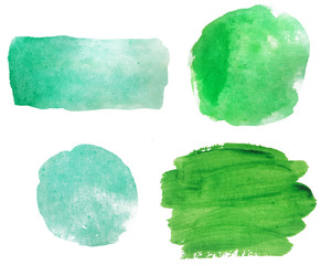Watercolor turquoise green blue set