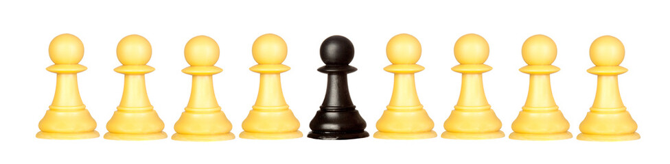 Many pawns black and other one yellow