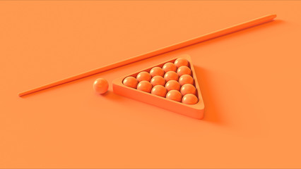 Orange Peach Pool Cue and Balls
