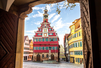 medieval town Esslingen am Neckar in Germany, famous historical town hall