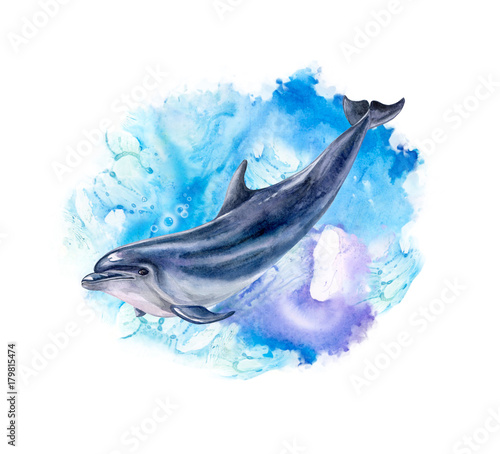 A dolphin realistic and abstract marine, wave background. Watercolor. Illustration. Template. Handmade