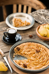 Coffee break with french pear tart
