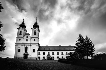 photo shows the historical Benedictine monastery of Tihany in Hungary's Balaton region.