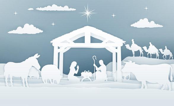 Nativity Christmas Scene Paper Art Style