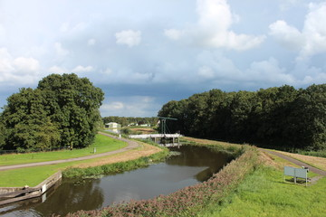 Drawbridge over the ring canal of the Zuidplaspolder in lowest area of western europe