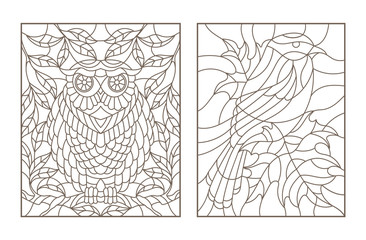 Set contour illustrations in the stained glass style with birds on the branches of trees