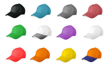Set of colored baseball caps on a white background.