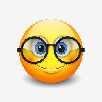 Cute smiling emoticon wearing eyeglasses, emoji