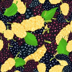 Ripe juicy black white, red mulberry seamless background. Vector card illustration. Closely spaced fresh berry. Mulberries pattern for packaging design food, juice jam ice cream, smoothies, detox.