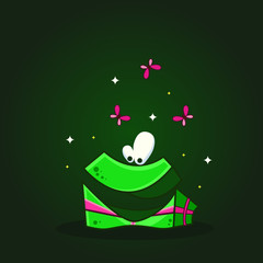 Vector color illustration of cartoon funny gift box on dark background. Object image to create original web games or graphic design