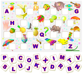 Worksheet for children with exercise for study English alphabet. Find the missing letters and write them in relevant places. Vector image.