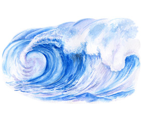 Sea wave. Watercolor painting. Illustration. Handmade