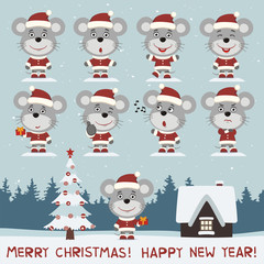 Merry christmas and happy new year! Vector set of mouse in different poses on background snow. Collection of little mouse in cartoon style for christmas design.