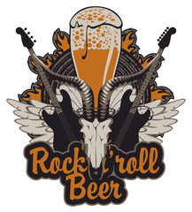 Vector banner for a rock pub with live music with an inscription and a picture of a full glass of beer, goat skull, acoustic guitars, wings and vinyl records in the fire