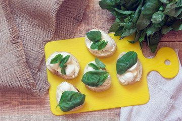 appetizer with mozzarella and basil
