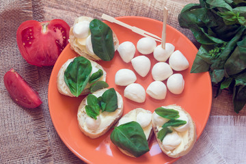 appetizer with mozzarella, basil and tomato