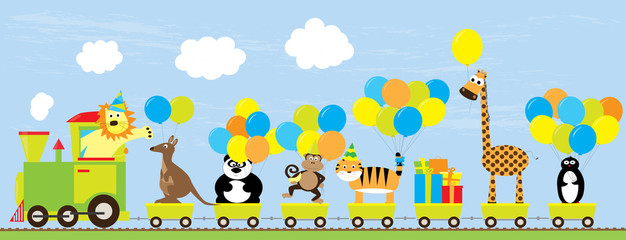 birthday party illustration for children : cartoon train with cute wild animals, gifts and balloons