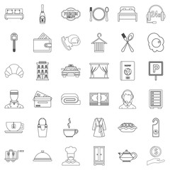 Luxury hotel icons set, outline style