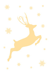 Happy New Year design on white background. Merry Christmas vector illustration with decoration and deer. Holiday greeting.