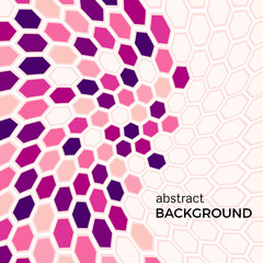 Abstract background with pink hexagons elements.  Vector illustration.
