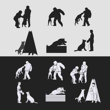 Dog sport silhouettes isolated. Schutzhund training silhouettes and hand drawn figures.
