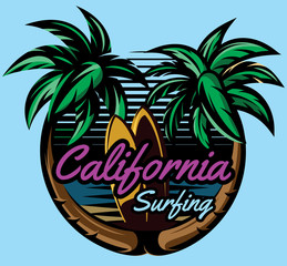 color vector template with palm trees on the ocean coast and surf boards