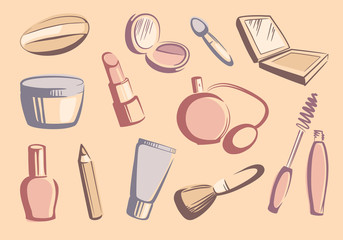 Cosmetics sketches. Vector illustration