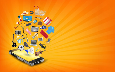 smartphone online shopping with shopping object