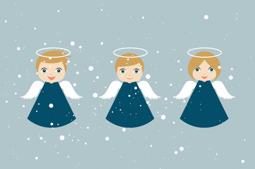 Christmas Angels cartoon illustration in flat style. Vector.