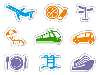 Travel stickers. Vector illustration