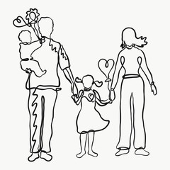 Family, drawn by one line, creative
