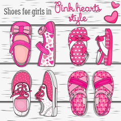 Shoes for girls in pink hearts style